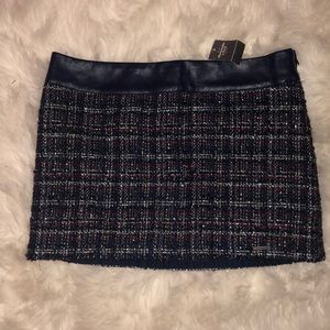 NWT Abercrombie blue and red wool tweed mini skirt
